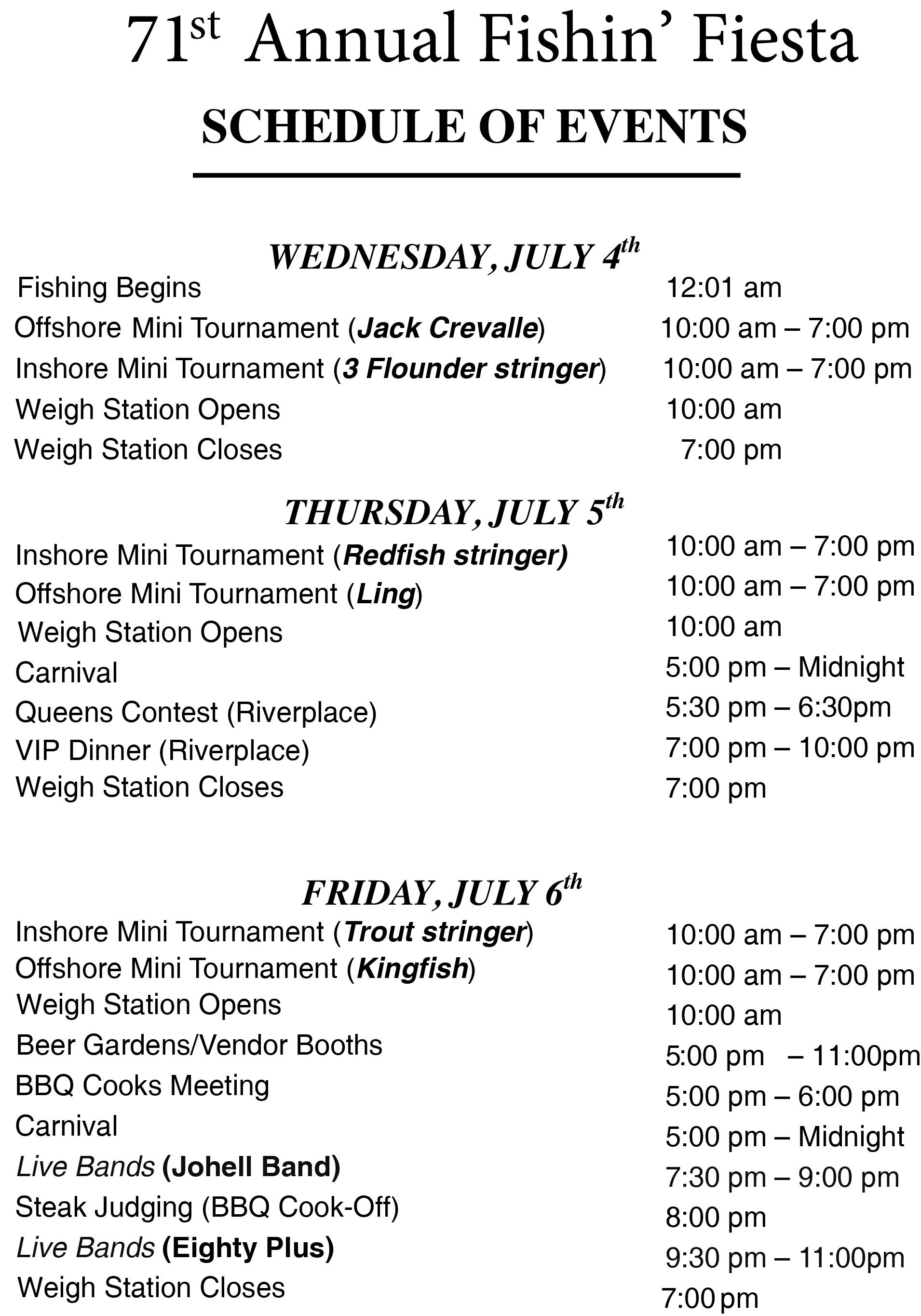 schedule of events fishin fiesta